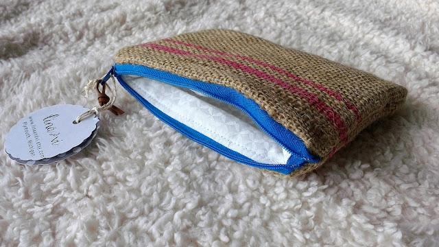 Handmade coffee sack burlap zipper pouch - etsy michigan - www.linaandvi.etsy.com