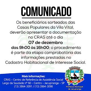 Jacupiranga - Comunicado Casas Populares