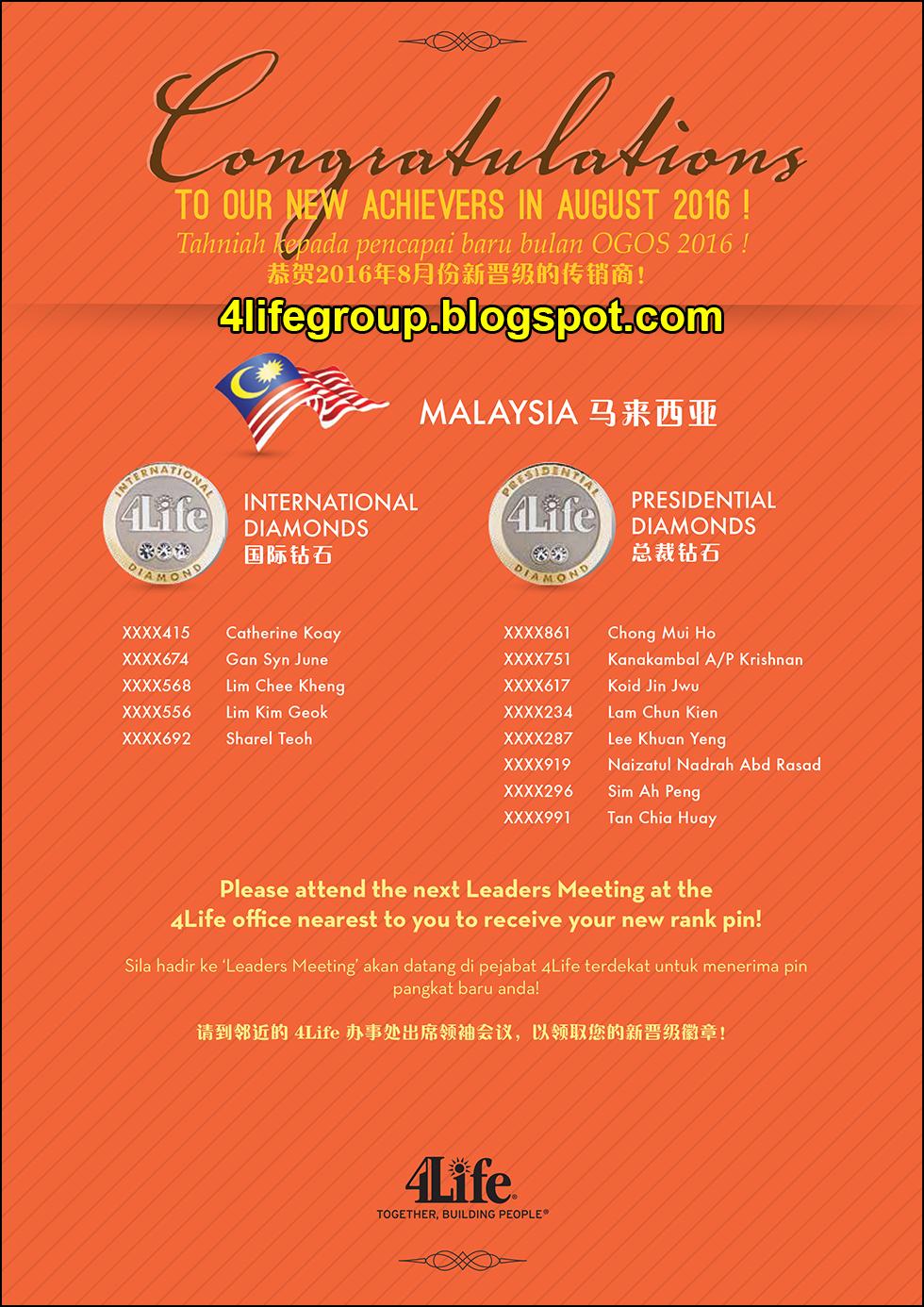 foto Pencapai Pangkat Baru Ogos 2016 4Life Malaysia (1)