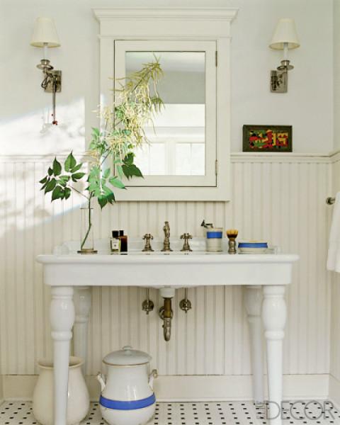 Beadboard Over Tile In Bathroom: Our French Inspired Home: Bathroom Sinks: Which Is Your