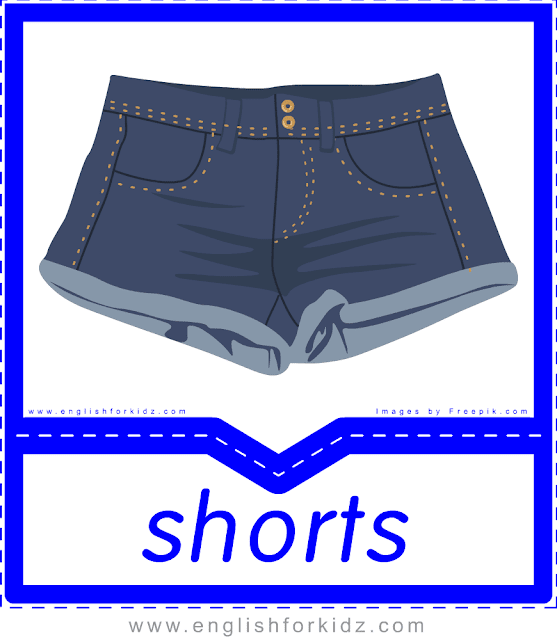Shorts - English clothes and accessories flashcards for ESL students