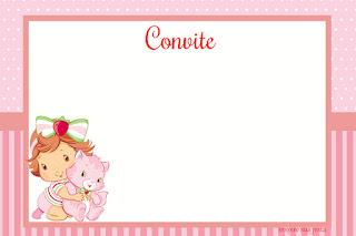 Para hacer invitaciones, tarjetas, marcos de fotos o etiquetas, para imprimir gratis de Fiesta de Strawberry Shortcake Bebé.