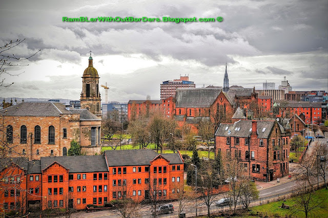 Aerial view showing Glasgow Evangelical Church and Barony Hall, Glasgow, Scotland, UK