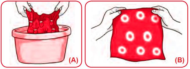 Gambar Mencelupkan kain kedalam pewarna dan hasil akhir