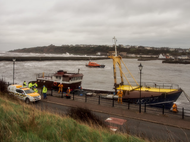 Photo of the lifeboat preparing to leave Maryport
