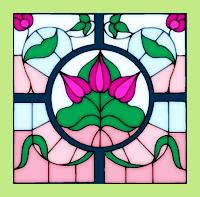 Tiffany-Glas-Motiv koloriert