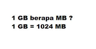 1 GB berapa MB ? 1 GB = 1024 MB