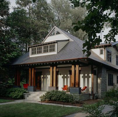 modelo de fachada de casa rstica con columnas de madera