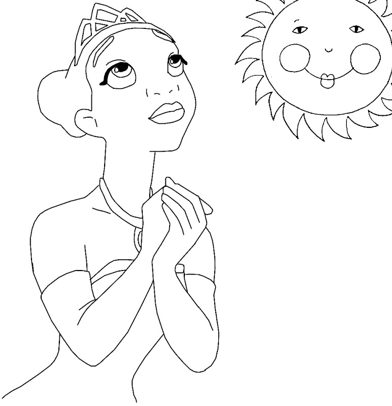 Princess Tiana Coloring: Disney Princess Character Coloring Pages