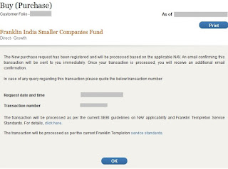 Franklin Templeton Mutual Fund Successful Purchase