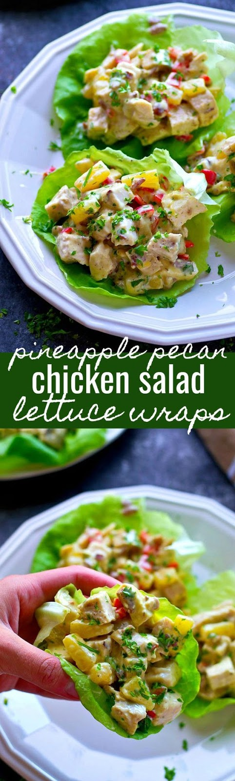 Pineapple Pecan Chicken Salad Lettuce Wraps