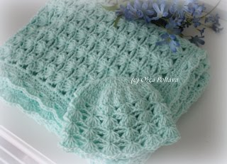 Newborn Baby Blanket and Hat Set Pattern $6.99
