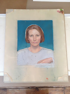 Edna Millay pastel portrait before treatment and framing, mold on pastel, mould outbreak and removal from surface of pastel art, Spicer Art Conservation, paper conservator