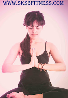Girl in Namaste greeting Namaskar Mudra