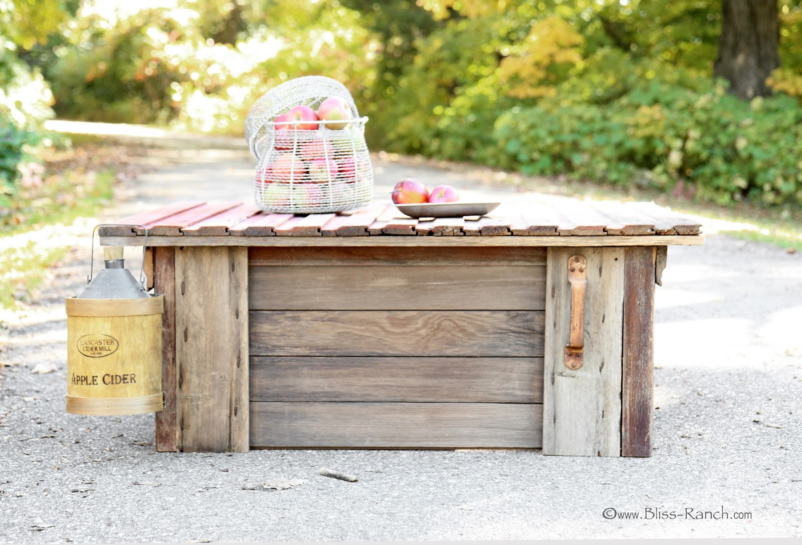 Old Barn Door Turned Coffee Table Bliss-Ranch.com