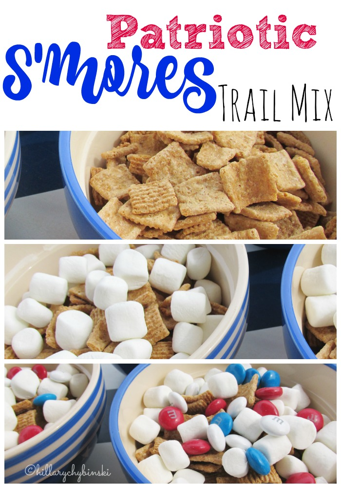 Easy Recipe Idea for S'mores Trail Mix - make it red, white and blue for 4th of July or Memorial Day festivities.