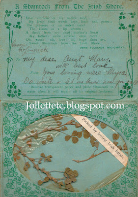 St. Patrick's Day card from Myra Sheehan to Mary Theresa Sheehan Walsh http://jollettetc.blogspot.com