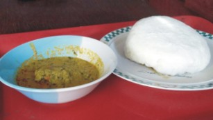a balanced diet of eba and egusi soup