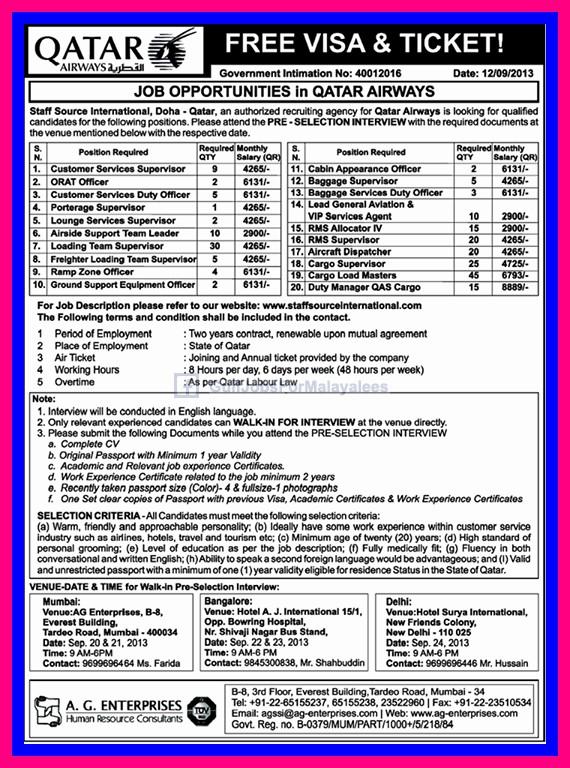 Job Opportunities In Qatar Airways, Free Visa & Ticket ...