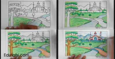 Cara mewarnai pemandangan istana dengan oil pastels