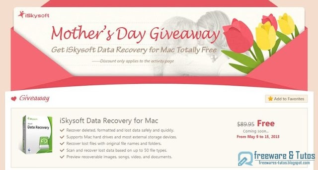 Offre promotionnelle : iSkysoft Data Recovery for Mac gratuit !