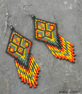 Яркие серьги в стиле этно украшения из бисера куплю цена подарок