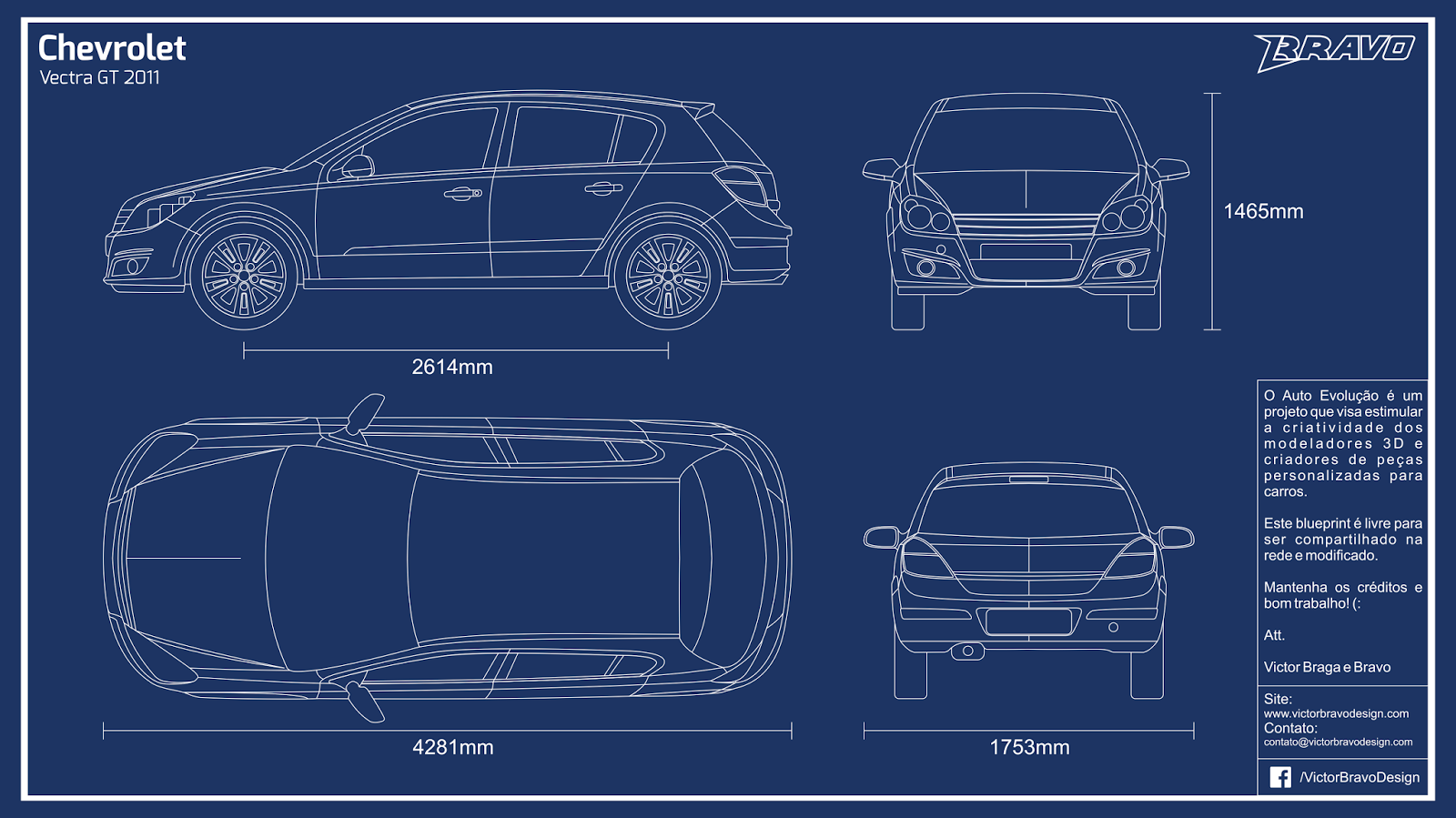 Imagem do blueprint do Chevrolet Vectra GT 2011