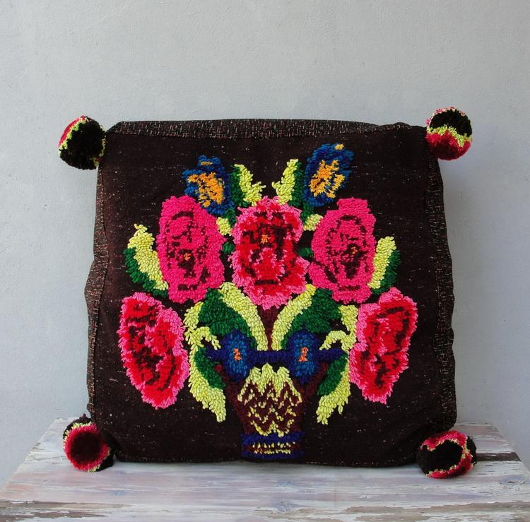 Knitted Ottoman Big W Cream Pouf Asda Cream Knitted Pouffe