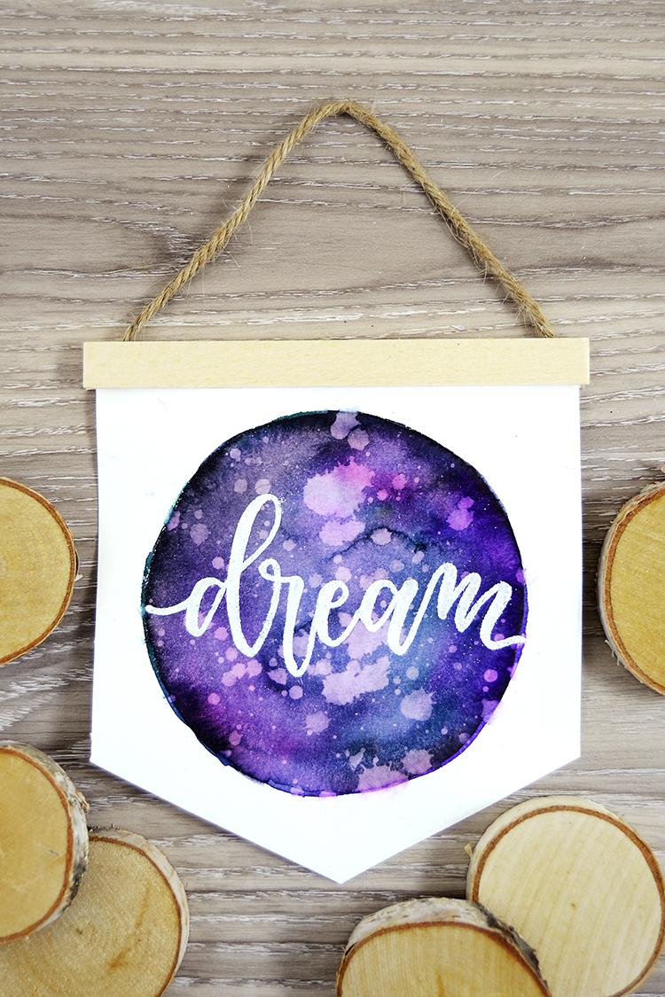 watercolor galaxy pennant banner