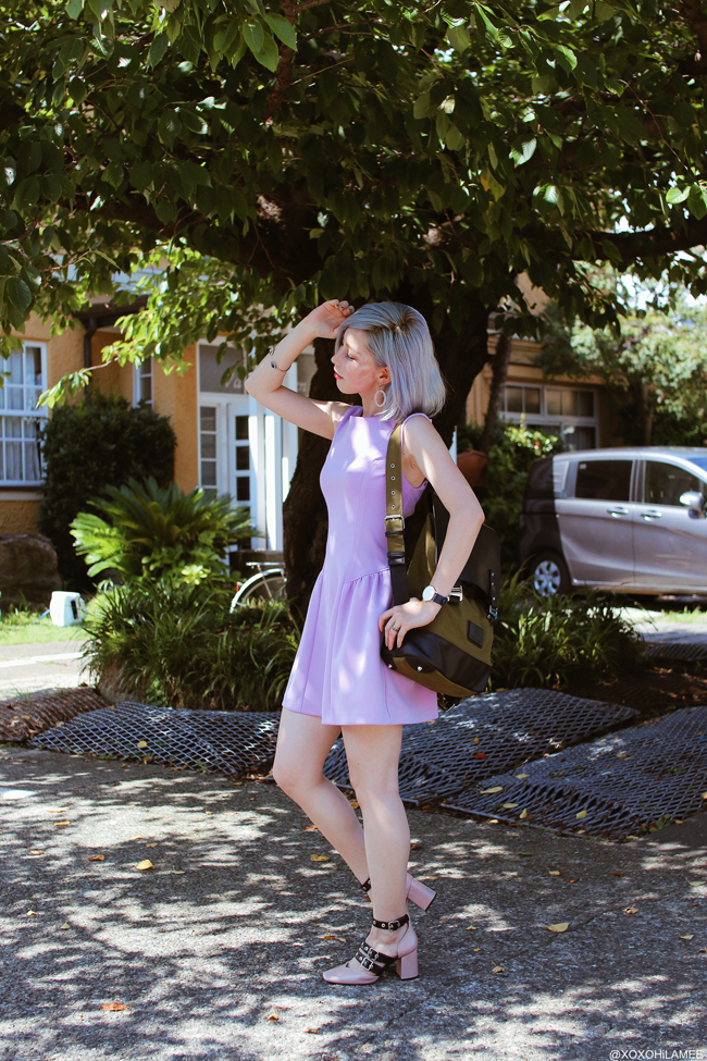 Japanese Fashion Blogger,Mizuho K,20180813 summer OOTD,forever21=lavender mini dress, Zara=black belt pink pumps, Gaston Luga=Back pack, Andreas Ingeman=blue oslo watch, 3COINS=clear foop earings, SheIn=stone silver cuff, street style