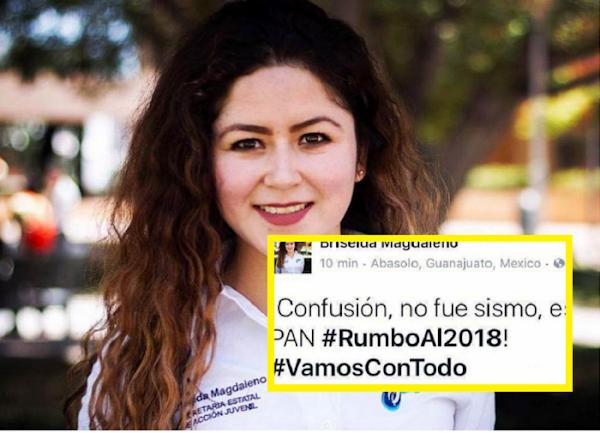 """Diputada del PAN se burla de los damnificados, """"no fue el sismo, es el PAN rumbo a 2018""""..."""