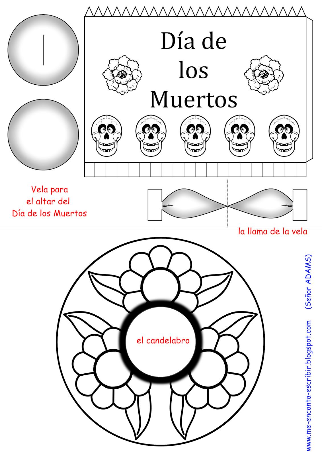 Me encanta escribir en español: Vela para el altar del Día de los ...