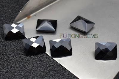 Checkerboard-Cubic-Zirconia-Black-Color-Rectangle-Gemstones-China-Wholesale