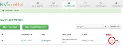 cara memasang iklan revenuehits di blog