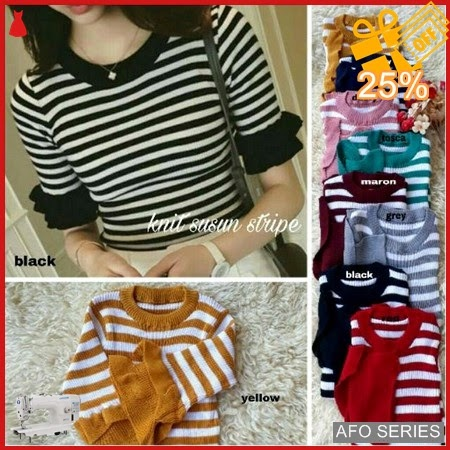 AFO425 Model Fashion Knit Susun Stripe Modis Murah BMGShop