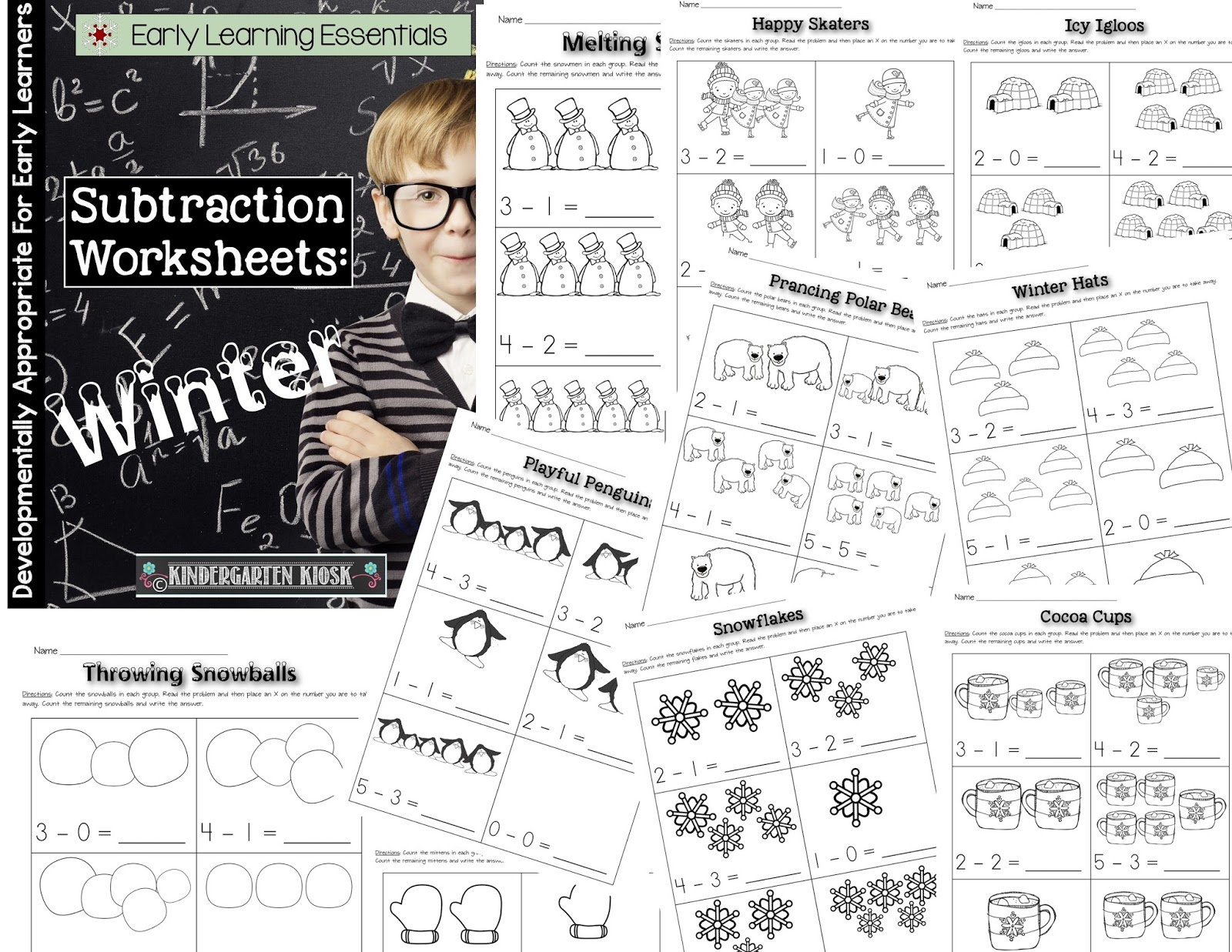Kindergarten Kiosk Subtraction Worksheets Winter