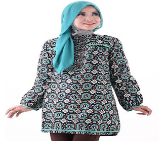 model baju atasan batik wanita muslim