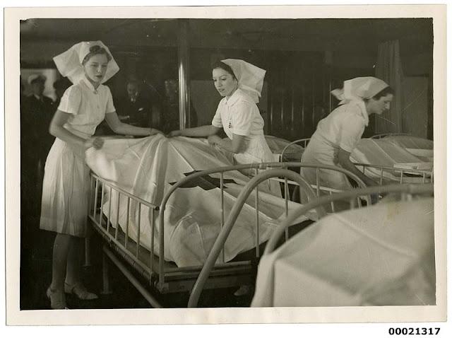 Nurses aboard hospital ship TSS Oranje II 28 June 1941 worldwartwo.filminspector.com