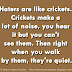 Haters are like crickets. Crickets make a lot of noise, you hear it but you can't see them. Then right when you walk by them, they're quiet.
