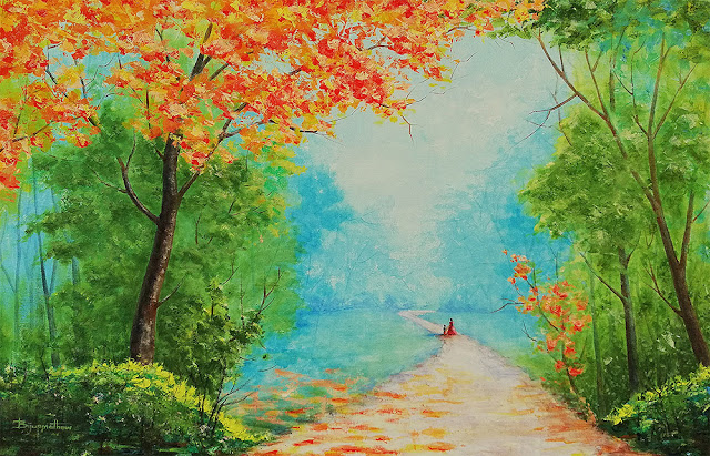 commissioned landscape painting, acrylic by Biju P