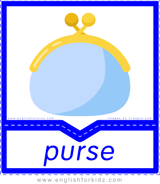 Purse - English clothes and accessories flashcards for ESL students