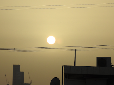 The sun in the haze