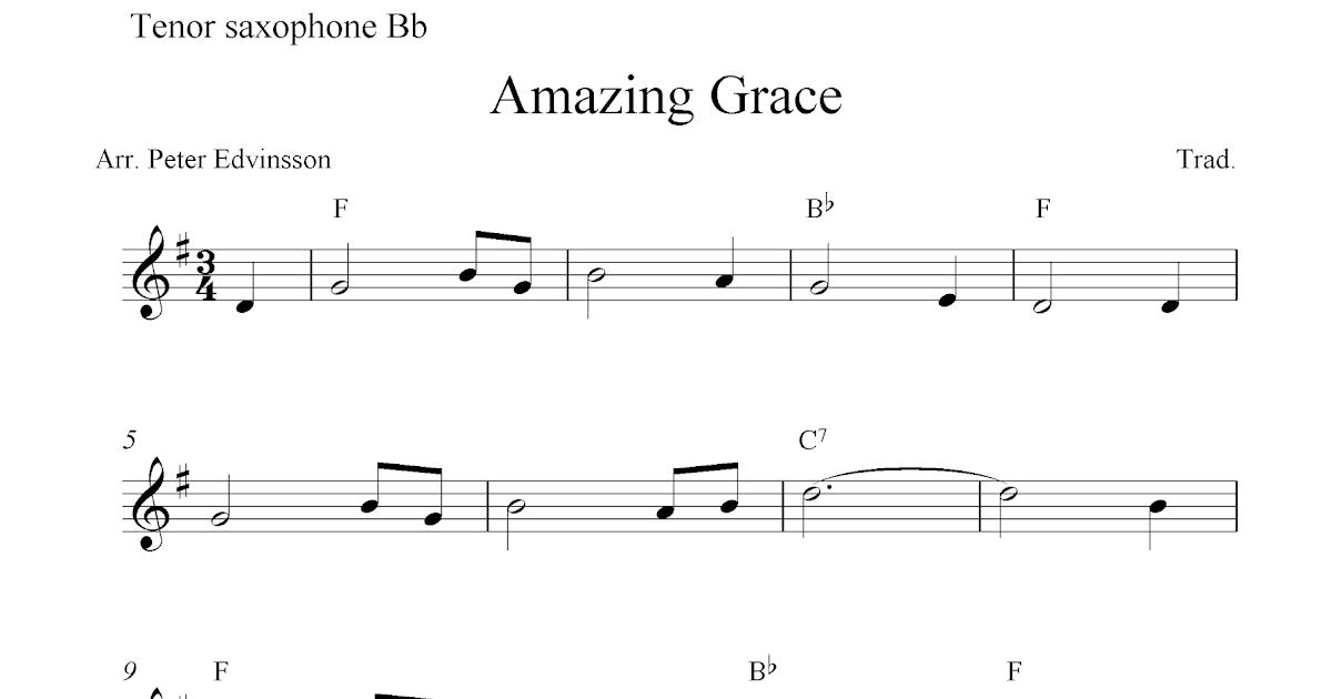 Amazing Grace Notes Tenor Saxophone
