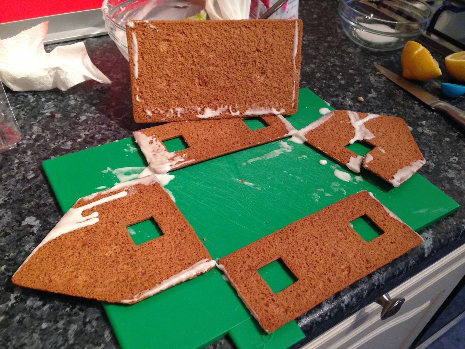 The dissembled walls of a gingerbread house