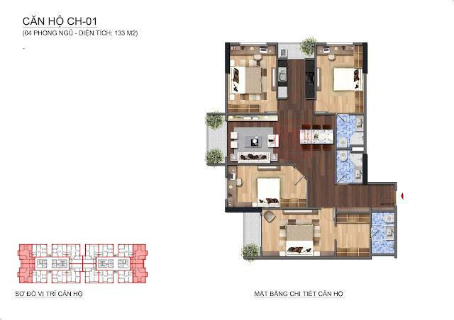 Căn hộ diện tích 133m2, 4 phòng ngủ tại Lạc Hồng Lotus N01T1