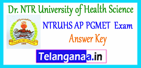 NTRUHS Dr. NTR University of Health Science AP PGMET Answer Key 2017 Cutoff Result
