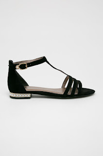 Tamaris - Sandale negre cu talpa joasa casual-elegante