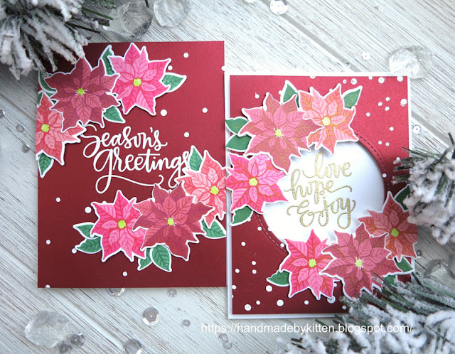 Sunny Studio Stamps: Petite Poinsettias customer card by  Sigi Zhou