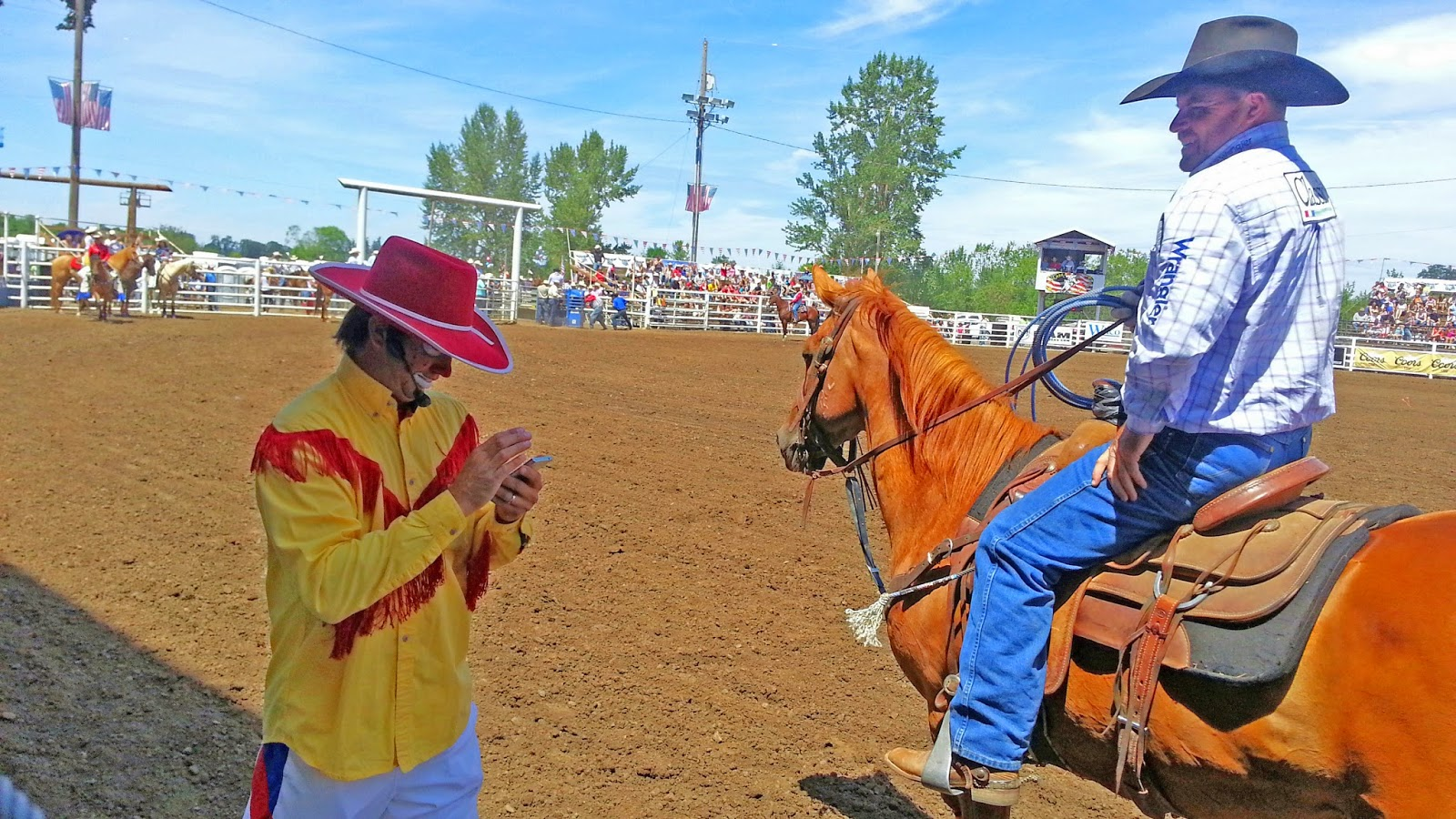 Even Rodeo Clowns Text On The Job