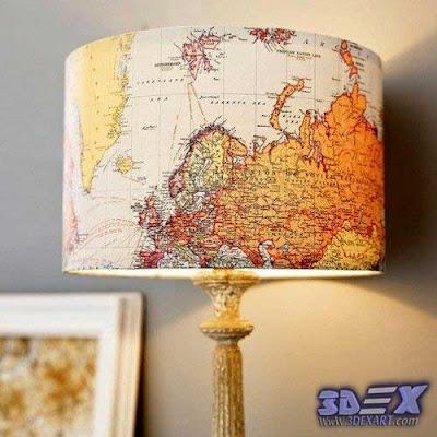 diy lampshade with maps, world map artwork, world map art decor
